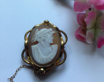 Victorian Cameo, Pinchbeck Cameo Brooch, C Clasp, Safety Chain, Circa 1800's