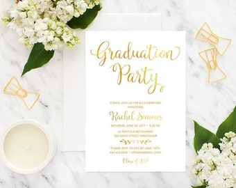Gold Graduation Party Invitation, Printable Graduation Invitation, Graduation Celebration Invitation, Faux Gold Foil White Grad Invitation
