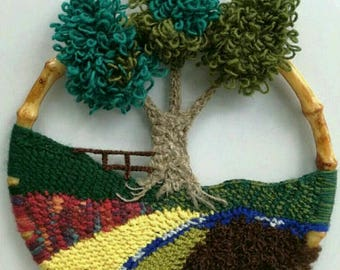 Crochet Wall Hanging Crochet landscape wall art crochet picture Home decoration Mother day gift Fiber Art