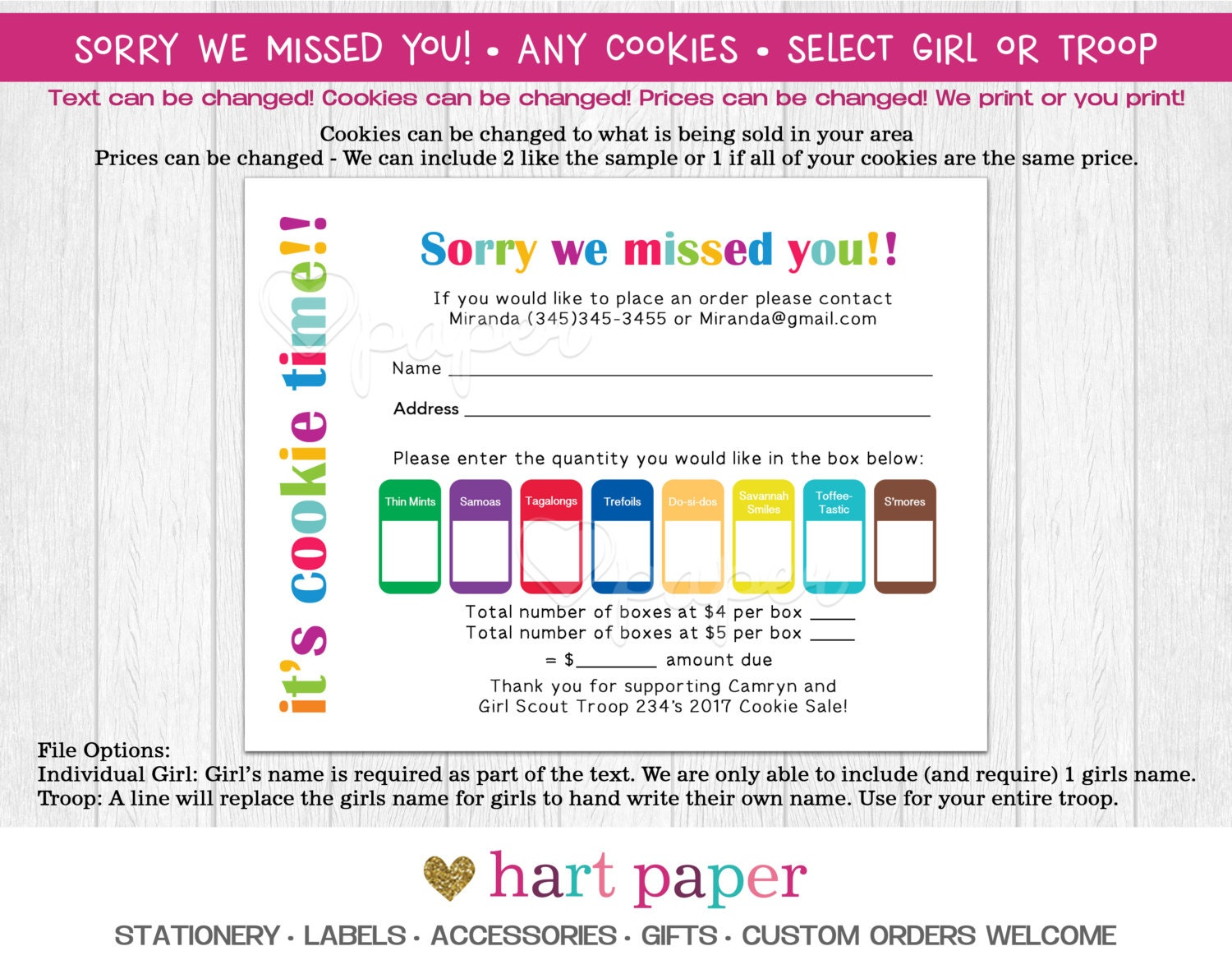 sorry we missed you girl scout troop cookie order printed