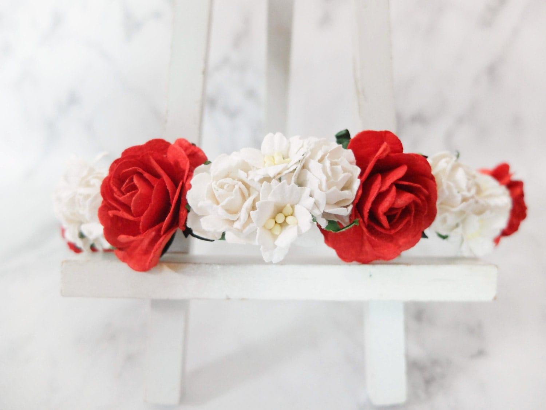 Hair accessories accessories flower crown red and white roses minimal headpiece flower headband wedding crown izmirmasajfo