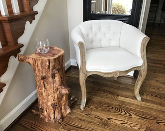 Red Cedar Log End Table, Side Table Or Stand