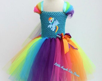 NEW Rainbow Dash My Little Pony Tutu Dress, Handmade Fancy Dress Costume ,  MLP Dress, Rainbow Tutu Dress, Birthday Party Dress, MLP Tutu