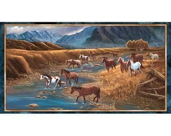 Quilting Treasures - Sundance - 1649-24794-X - Panel - Lane Kendrick - Horses - Mountains - Western