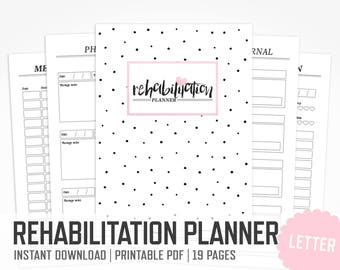 Rehabilitation Planner / Letter size / Surgery Recovery Hospital Physical Exercise Medication Medical Binder Inserts / INSTANT DOWNLOAD