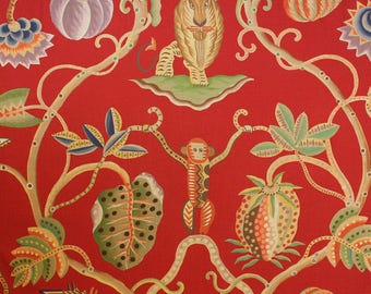 CLARENCE HOUSE JEMBALA Monkeys Lions Linen Toile Fabric 10 yards Red