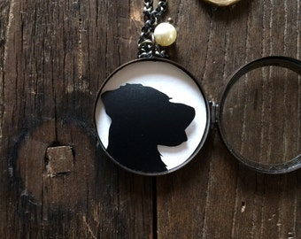 Custom Silhouette Shadow Box Locket Pendant Necklaces / Custom Hand Cut Keepsake Silhouettes / Antique Bronze Vintage Necklace