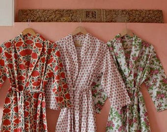 Dressing Gown/ Robe Hand Block Printed on Organic Cotton