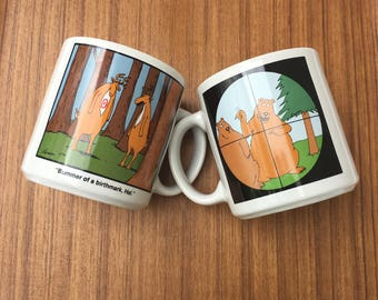 The Far Side Vintage Gary Larson Mugs Bears in the Cross Hair & Bummer of a Birthmark Mugs Set of Two