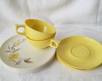 Vintage Yellow Stetson Melmac Cups, Saucers, and Rose Salad Plates