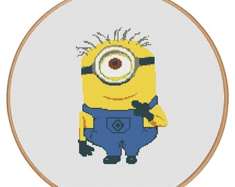 MORE for FREE - Minion - Counted Cross stitch pattern PDF-Instant Download-Cross Stitch Pattern - Children-Kids-Needlepoint - #1635