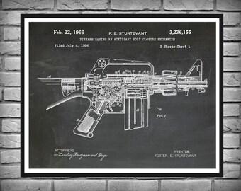 1966 M-16 Rifle Patent Print AR15 Vers #2 - Art Print - Poster -  Fire Arm - Military Weapon - Sniper Rifle - Wall Art - Assault Rifle Print