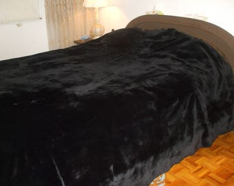 "Brand new black sheared beaver fur blanket bed cover throw size 100""x100"" custom made"
