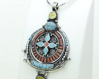 3.93 Stunning Vibrant Piece! Coral Turquoise Native Tribal Ethnic Vintage Nepal Tibetan Jewelry OXIDIZED Silver Pendant + Chain P3928