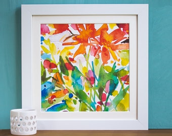 Dahlia Watercolour Mounted and Signed Print