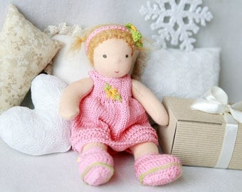 Sale Waldorf inspired baby doll 7 inch (20 cm) pocket doll, cloth doll, textile doll, fabric doll, rag doll,  custom doll, Christmas gift