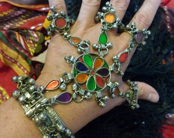 Handflower with Multicoloured Glasstones, Tribal-Bracelet, Kuchi