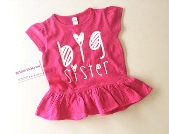 Big Sister Hot Pink Ruffle Shirt/Big Sister Tee/Toddler Girl/Toddler Shirts/Gift Ideas/Pregnancy Announcement/Big Sister shirts