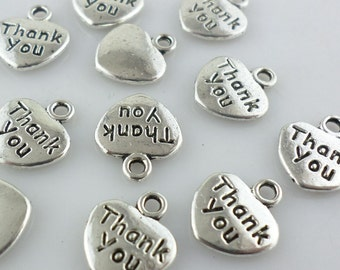 "15/60/500pcs Ancient silver Smooth back heart ""Thank you"" Charms Pendants"