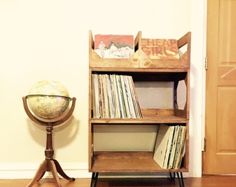 Deluxe Sr. Vinyl Record Storage with Hairpin Legs // Stylish  // Convenient // Efficiency // Displays Your Collection Of Up To 360 Records