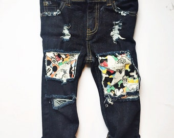 Mickey Jeans // Mickey Birthday Party // Distressed Skinny Jeans Mickey Comic patches // Baby, Toddler Dark Wash Skinnies // Disney Outfit