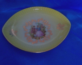 Vintage Limoges Yellow Oval Pin Dish