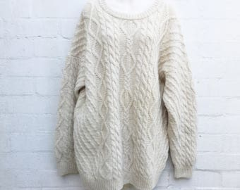 Vintage 80's Cream Cable Knit Chunky Aran Oversize Pure Wool