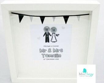 Mr & Mrs button frame