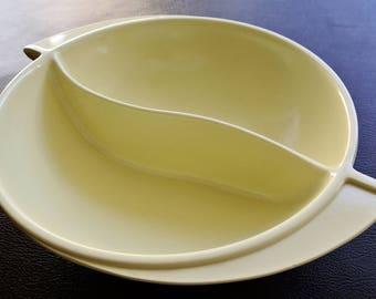 Boonton Serving Bowl, Mid Century Melmac Bowl, Divided Serving Bowl, Boonton Ware Bowl, Yellow Melamine Serving Bowl