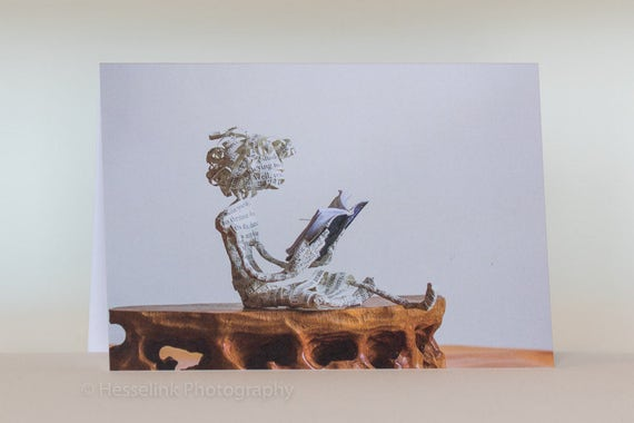 Book Sculpture Greeting Card, Blank Card, Book Lover