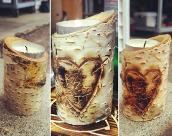 Birch Candle Holders Real/Natural