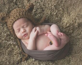 Crochet Chuncky Baby Bear Bonnet,Boy Chuncky Bonnet,Baby Girl Bonnet,Baby Bear Bonnet,Crochet Bear Hat,Baby Bear Hat,Newborn Photo Prop