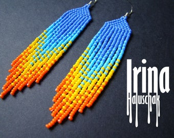 Gradient blue and yellow beaded earrings seed bead earrings bead earrings boho earrings dangle earrings fringe earrings long earrings