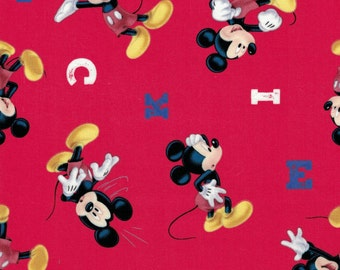 Mickey Mouse Fabric- Red Background- Springs Creative- 100% Cotton Fabric