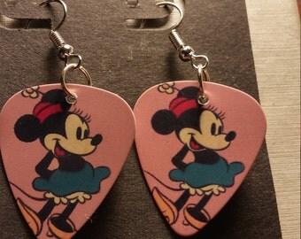 Disney Mini Mouse guitar pick earrings