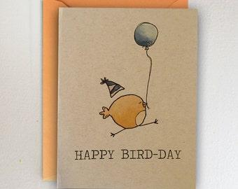 Happy Bird-Day / Happy Birthday Card / Birds / Watercolor / Orange