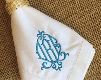 Monogrammed Hemstitched Dinner Napkins*Linen Like 100% Cotton*20x20 inches*Embroidered Wedding Gift Tabletop*White French Blue