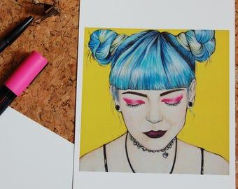 Emo Girl Blue hair Postcard A5