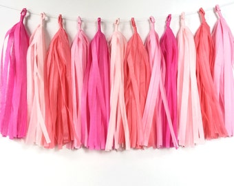 Tissue Tassel Garland 20 Tassels. Hot pink, Light Pink and Coral