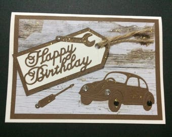 Handmade Birthday card featuring car and tools