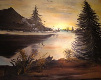 Sunset on water pine trees waterfall oil on canvas 24 x 30