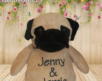 Pug Dog Cubbie personalised toy, plush toy, baby toy, christmas, birthday, baby shower, soft toy, wedding, kids, baby, boyfriend, mum, dad