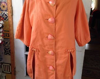 80's orange cotton pique beach/pool cover up, large size