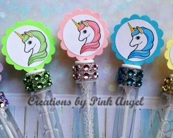 Set of 12 Unicorn Bubble Wands, Unicorn Party Favors, Unicorn Birthday Favors, Pink Blue Purple Green Unicorn Favors