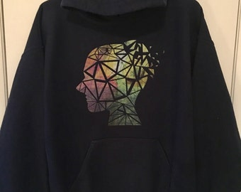 Colorful abstract head shatter pull over hoodie