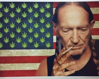 """Willie Nelson American Flag GIANT WIDE 42"""" x 24"""" Poster Print Legalize Marijuana Weed Man Cave Bar"""