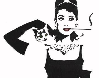 Audrey Hepburn hand-drawn drawing / painting