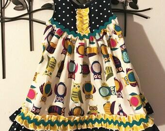Owl Boutique Dress, Owl Summer Dress, Owl Ruffle Dress