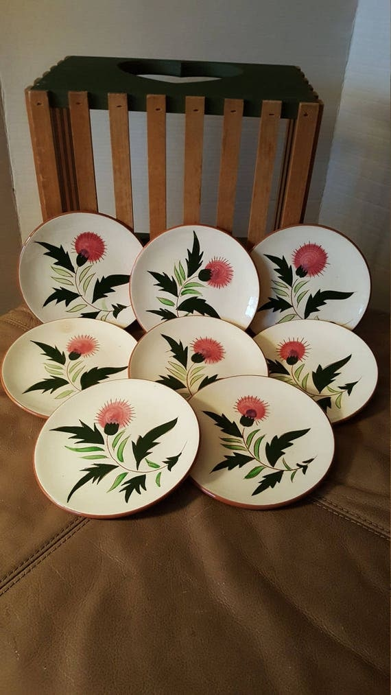 Like this item? & Stangl Pottery 8 Small Plates Thistle Pattern Hand Painted