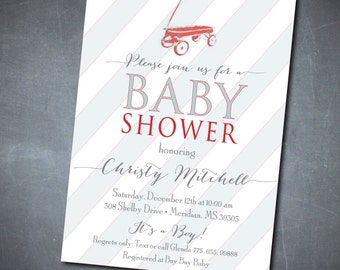 Simple yet Adorable Baby Shower Invitation printable/DIGITAL FILE/Baby Boy Shower Invitation, red wagon, vintage/Wording can be changed